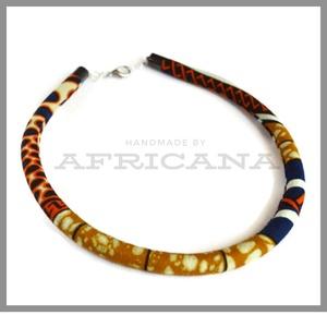 Afrikai stílusú sárga  mintás kötélékszer, nyaklánc, autentikus afrikai textiliából, , Ékszer, Nyaklánc, Ékszerkészítés, Varrás, Autentikus afrikai pamut textiliával vontam be 0,8 cm vastag szintetikus kötelet. Az anyag mintája, ..., Meska