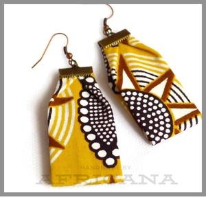 Afrikai stílusú,  csillag mintás sárga textil női fülbevaló, autentikus afrikai textiliából, Ékszer, Fülbevaló, Varrás, Ékszerkészítés, Nagy rajongója vagyok az afrikai stílusú textíliáknak , pompázatos színük, jellegzetes  mintájuk sem..., Meska
