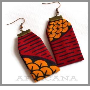 Afrikai stílusú,  piros sárga  textil női fülbevaló, autentikus afrikai textiliából, Ékszer, Fülbevaló, Varrás, Ékszerkészítés, Nagy rajongója vagyok az afrikai stílusú textíliáknak , pompázatos színük, jellegzetes  mintájuk sem..., Meska