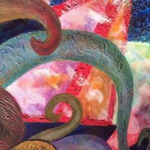 """Genezis avagy az anyagi világ keletkezése absztrakt festmény, Művészet, Festmény, Akril, Festészet, Az anyagi világ születése (50*70 cm akril) """"Kezdetben vala az ige"""" Fény és sötétség találkozásából k..., Meska"""