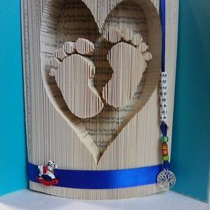 """Babaláb szívben, Művészet, Más művészeti ág, A """"Babaláb szívben"""" egyedi készítésű könyvszobor. Kiváló ajándék gyermek születésekor, keresztelőre,..., Meska"""