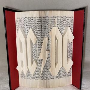 """AC DC, Művészet, Más művészeti ág, Az""""AC DC"""" egyedi tervezésű könyvszobor. Kiváló és időtálló ajándék zenerajongóknak névnapra, születé..., Meska"""