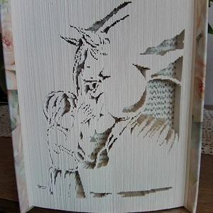 """Kislány lóval, Művészet, Más művészeti ág, A""""Kislány lóval"""" egyedi tervezésű könyvszobor. Kiváló és időtálló ajándék állatbarátoknak születésna..., Meska"""