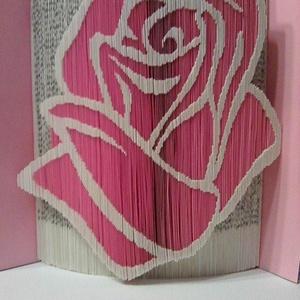 """Rózsaszín rózsa, Művészet, Más művészeti ág, A""""Rózsaszín rózsa"""" egyedi tervezésű könyvszobor. Kiváló és időtálló ajándék nőnapra, névnapra, szüle..., Meska"""