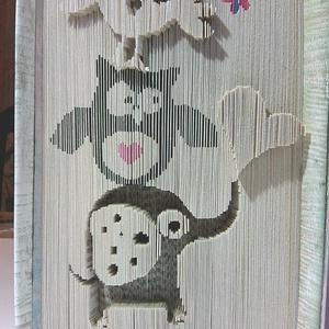 """Elefánt, bagoly, veréb, Művészet, Más művészeti ág, Az"""" Elefánt,bagoly,veréb"""" egyedi tervezésű könyvszobor. Kiváló és időtálló ajándék bármilyen alkalom..., Meska"""