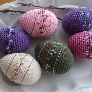 Horgolt,hímzett tojások, Otthon & Lakás, Dekoráció, Horgolt hímes tojások:) 100% pamuttal behorgolt és hímzőcérnával díszített hungarocell tojások..A ké..., Meska