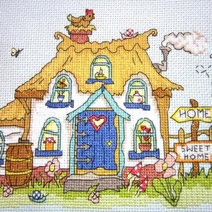 Angol vidéki házikó, Gyerek & játék, Gyerekszoba, Dekoráció, Otthon & lakás, Kép, Hímzés, 20x16 cm-es keresztszemes kép - a tervezés nem az én művem, de az öltögetés annál inkább - akár fali..., Meska