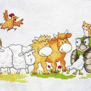 Állatok a farmon, Otthon & Lakás, Kép & Falikép, Dekoráció, 38x16 cm-es keresztszemes kép - a tervezés nem az én művem, de az öltögetés annál inkább - akár fali..., Meska