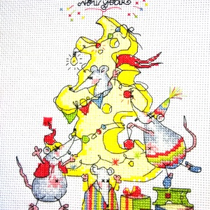 Karácsony az egérlyukban, Karácsonyi dekoráció, Karácsony & Mikulás, Hímzés, 21x15 cm-es keresztszemes kép - a tervezés nem az én művem, de az öltögetés annál inkább - akár fali..., Meska