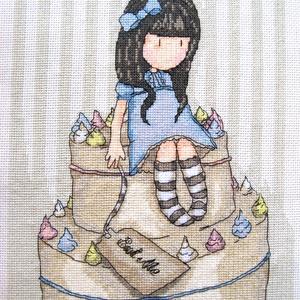 Kislány tortával / Gorjuss, Gyerek & játék, Gyerekszoba, Dekoráció, Otthon & lakás, Kép, Hímzés, 22x27 cm hímzett kép - akár keretezett faliképnek, akár párnának!, Meska