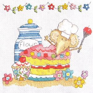 Egér a tortában, Otthon & Lakás, Kép & Falikép, Dekoráció, 20x18 cm keresztszemes, képnek ajánlom, akár kisfiúnak, akár kislánynak, de akár párna is készíthető..., Meska