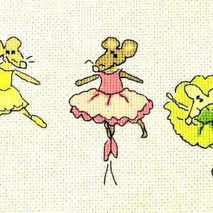 Egerek a balettben, Gyerek & játék, Gyerekszoba, Baba falikép, Dekoráció, Otthon & lakás, Hímzés, 47x10 cm keresztszemes, gyerekszobába vidám kép vagy párna is készíthető belőle. A design nem az én ..., Meska