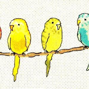 Színes papagájok, Otthon & Lakás, Kép & Falikép, Dekoráció, 28x13 cm keresztszemes, gyerekszobába vidám kép vagy párna is készíthető belőle. A design nem az én ..., Meska