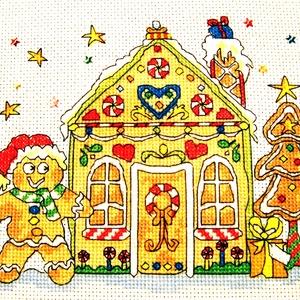 Mézeskalács házikó, Gyerek & játék, Gyerekszoba, Baba falikép, Karácsony, Ünnepi dekoráció, Dekoráció, Otthon & lakás, Hímzés, 19x15 cm, hímzett kép - a designt nem én követtem el, viszont a x-ek öltögetése az én művem, örömmel..., Meska