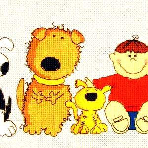 Kutyák és gyerekek, Gyerek & játék, Gyerekszoba, Baba falikép, Dekoráció, Otthon & lakás, Hímzés, 37x13 cm keresztszemes kép, gyerekszobába vidám kép vagy párna is készíthető belőle. A design nem az..., Meska