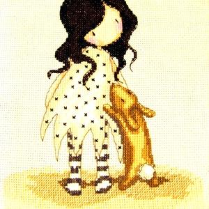 Nyulas lány /  Gorjuss, Gyerek & játék, Gyerekszoba, Baba falikép, Dekoráció, Otthon & lakás, Hímzés, 20x16 cm-es keresztszemes kép - a tervezés nem az én művem, de az öltögetés annál inkább - akár fali..., Meska