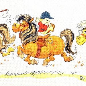 Lovasvágta, Otthon & Lakás, Kép & Falikép, Dekoráció, 50x20 cm, gyerekszobába, lovakat szeretőknek, sportolóknak - keretezett faliképnek vagy párnának is!..., Meska