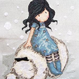 A kislány és a jegesmedve / Gorjuss, Dekoráció, Otthon & lakás, Kép, Gyerek & játék, Gyerekszoba, Hímzés, 16x22 cm hímzett kép - akár párnának is, vagy keretezett faliképnek!, Meska