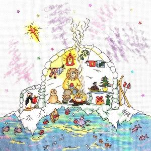 Eszkimó karácsony, Gyerek & játék, Gyerekszoba, Dekoráció, Otthon & lakás, Kép, Hímzés, 25x25 cm-es keresztszemes hímzés, keretezett faliképnek ajánlom., Meska
