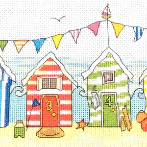 Beach - tengerparti színes házak, Gyerek & játék, Gyerekszoba, Dekoráció, Otthon & lakás, Kép, Hímzés, 39x15 cm keresztszemes kép, Meska