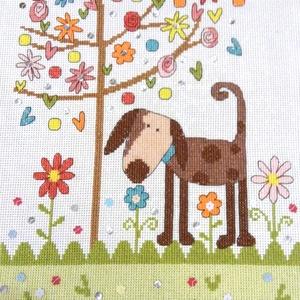 Kutyus a fa alatt, Otthon & Lakás, Kép & Falikép, Dekoráció, 30x23 cm-es keresztszemes hímzés, képnek ajánlom, Meska