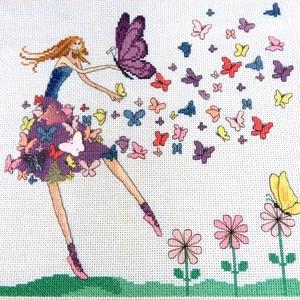 Pillangótündér, Dekoráció, Otthon & lakás, Kép, Gyerek & játék, Gyerekszoba, Hímzés, 26x26 cm keresztszemes hímzés, falikép vagy akár párna is lehet belőle, Meska