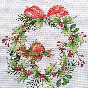Robin - karácsonyi koszorú, Karácsonyi kopogtató, Karácsony & Mikulás, Hímzés, 26x26 cm keresztszemes hímzés, faliképnek ajánlom, de akár párna is készülhet belőle, Meska