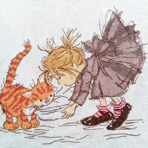 Kislány és a cicája, Gyerek & játék, Gyerekszoba, Dekoráció, Otthon & lakás, Kép, Hímzés, 22x26 cm keresztszemes hímzés, faliképnek ajánlom de akár kisebb párna is lehet belőle, Meska