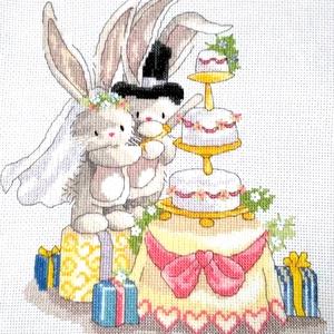 Bebunni - Nyuszi esküvő, Gyerek & játék, Gyerekszoba, Baba falikép, Hímzés, Kb. 20x30 cm-es keresztszemes hímzés,  faliképnek ajánlom, Meska