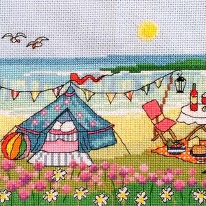 Piknik a szabadban 1, Otthon & Lakás, Kép & Falikép, Dekoráció, Kb. 40x20 cm keresztszemes hímzés, Meska