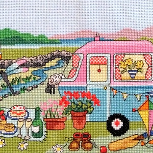 Piknik a szabadban 2, Otthon & Lakás, Kép & Falikép, Dekoráció, Kb. 40x20 cm keresztszemes hímzés, Meska