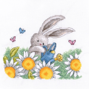 Bebunni - Virágok között, Otthon & Lakás, Kép & Falikép, Dekoráció, Kb. 20x20 cm keresztszemes kép, keretezve aranyos lehet gyerekszobába, de akár párnának is el lehet ..., Meska