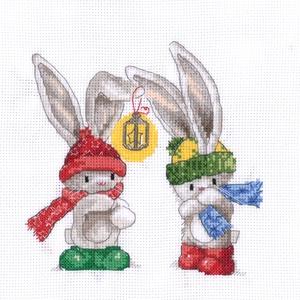 Bebunni - Téli barátok, Otthon & Lakás, Kép & Falikép, Dekoráció, Kb. 23x23 cm keresztszemes kép, keretezve aranyos lehet gyerekszobába, de akár párnának is el lehet ..., Meska