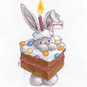 Bebunni - Boldog születésnapot!, Otthon & Lakás, Kép & Falikép, Dekoráció, Kb. 20x27 cm keresztszemes kép, keretezve aranyos lehet gyerekszobába, de akár párnának is el lehet ..., Meska