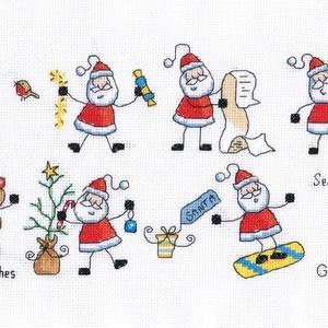 Bolondos mikulások, Karácsony & Mikulás, Mikulás, Kb. 23x55 cm keresztszemes kép, keretezve aranyos lehet gyerekszobába, de akár párnának is el lehet ..., Meska