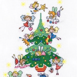 Tündérek karácsonya, Otthon & Lakás, Kép & Falikép, Dekoráció, Kb. 35x25 cm keresztszemes kép, keretezve aranyos lehet gyerekszobába, de akár párnának is el lehet ..., Meska