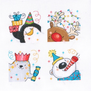 Karácsonyi barátok- pingvin, rénszarvas, fóka, jegesmedve, Kép & Falikép, Dekoráció, Otthon & Lakás, Hímzés, Kb. 25x25 cm keresztszemes kép, keretezve aranyos lehet gyerekszobába, de akár párnának is el lehet ..., Meska