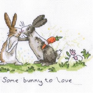 Nyuszi - Some bunny to love, Kép & Falikép, Dekoráció, Otthon & Lakás, Hímzés, Kb. 25x15 cm keresztszemes kép, keretezve aranyos lehet gyerekszobába., Meska