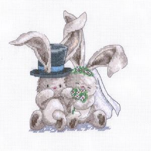 Bebunni - esküvő, Otthon & Lakás, Dekoráció, Kép & Falikép, Kb. 25x20 cm-es keresztszemes kép, vidám falikép lehet belőle keretezés után, Meska