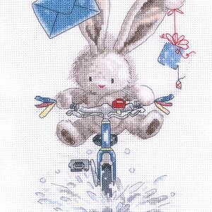 Bebunni - Biciklis postás, Otthon & Lakás, Dekoráció, Kép & Falikép, Kb. 30x20 cm-es keresztszemes kép, vidám falikép lehet belőle keretezés után, Meska