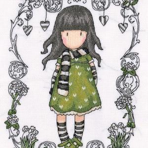 Gorjuss - Zöld ruhás lány, Otthon & Lakás, Dekoráció, Kép & Falikép, Kb. 22x30 cm keresztszemes kép, faliképnek ajánlom kereteztetve., Meska