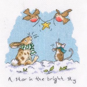 Nyuszi és egérke karácsonya, Otthon & Lakás, Dekoráció, Kép & Falikép, Kb. 20x20 cm keresztszemes hímzés - faliképnek ajánlom kereteztetve! 2 db van belőle, Meska