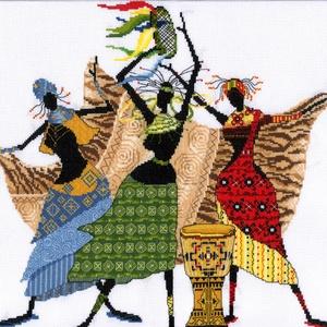 Afrikai nők, Otthon & Lakás, Dekoráció, Kép & Falikép, Kb. 40x40 cm keresztszemes hímzés - faliképnek kereteztetve ajánlom, vagy akár párnának is meg lehet..., Meska