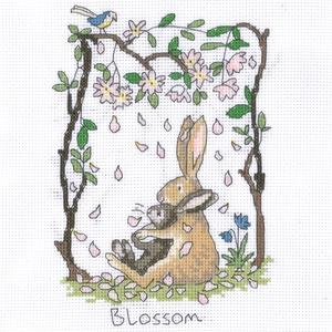 Nyuszi - Blossom (Virágzás), Otthon & Lakás, Dekoráció, Kép & Falikép, 20x25 cm kis keresztszemes kép, keretezett képnek ajánlom, Meska