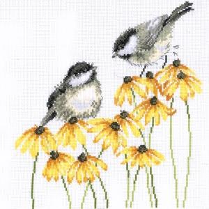 Cinkék és sárga virágok, Otthon & Lakás, Dekoráció, Kép & Falikép, Kb. 30x30 cm-es keresztszemes hímzés, ajánlom akár keretezésre, akár párnának is szép lehet!..., Meska