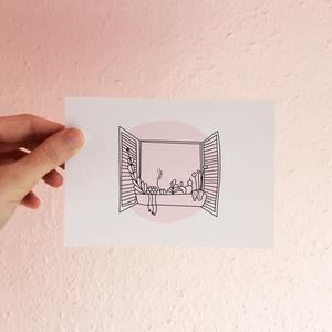 • virágos ablak • képeslap • anyák napja •, Anyák napja, Ünnepi dekoráció, Dekoráció, Otthon & lakás, Képzőművészet, Grafika, Naptár, képeslap, album, Fotó, grafika, rajz, illusztráció, • virágos ablak • képeslap általam készített, ágiszerintes grafikával\n\nA6 (105x148 mm) méretű képesl..., Meska