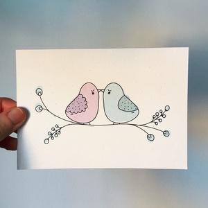 • szerelmes madarak • képeslap, Dekoráció, Otthon & lakás, Képzőművészet, Naptár, képeslap, album, Fotó, grafika, rajz, illusztráció, Újrahasznosított alapanyagból készült termékek, • szerelmes madarak • képeslap általam készített, ágiszerintes grafikával\n\nA6 (105x148 mm) méretű ké..., Meska