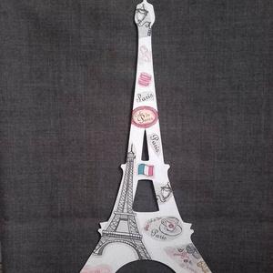 EIFFEL TORONY fa tábla PÁRIZS, mintás tábla, Dekoráció, Otthon & lakás, Lakberendezés, Utcatábla, névtábla, Egyéb, Decoupage, transzfer és szalvétatechnika, Mindenmás, MDF lemezből lett kivágva ez az Eiffel torony tábla. Fehérre festettem le, majd száradás után Párizs..., Meska