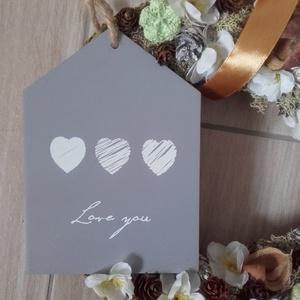 LOVE szürke-fehér kopogtató, ajtódísz -KÉSZTERMÉK (agiviragi) - Meska.hu