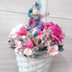 Virágos figurás asztaldísz, dísz NÉVNAPRA ÉS SZÜLINAPRA - otthon & lakás - dekoráció - asztaldísz - Meska.hu